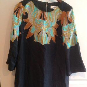 Tibi | Black Green Silk 3/4 Sleeve Geometric Dress